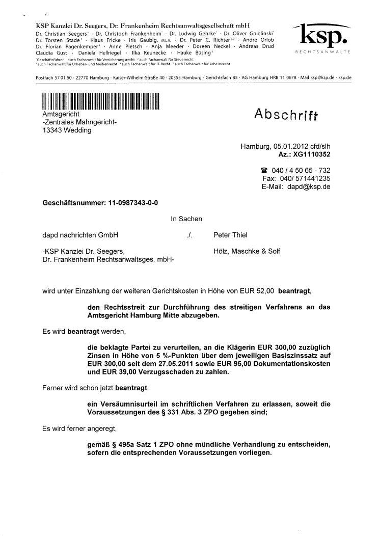 KSP Kanzlei Dr  Seegers, Dr  Frankenheim